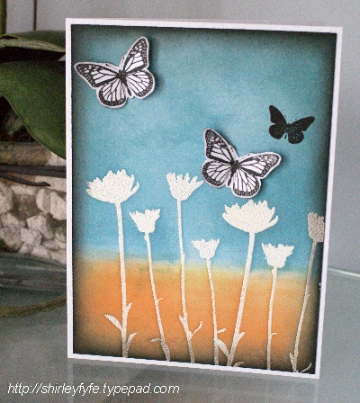 Blended Ink Butterfly Card