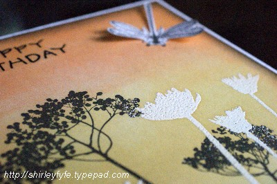 Blended Ink Dragon Fly Card Close-up 1