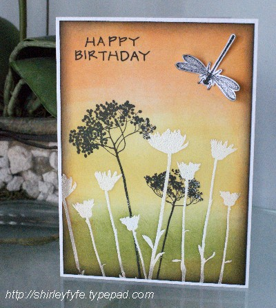 Blended Ink Dragon Fly Card