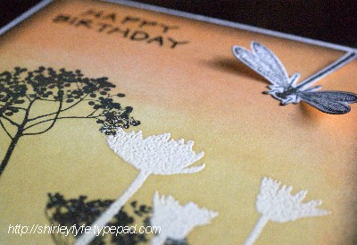 Blended Ink Dragon Fly Card Close-up 2